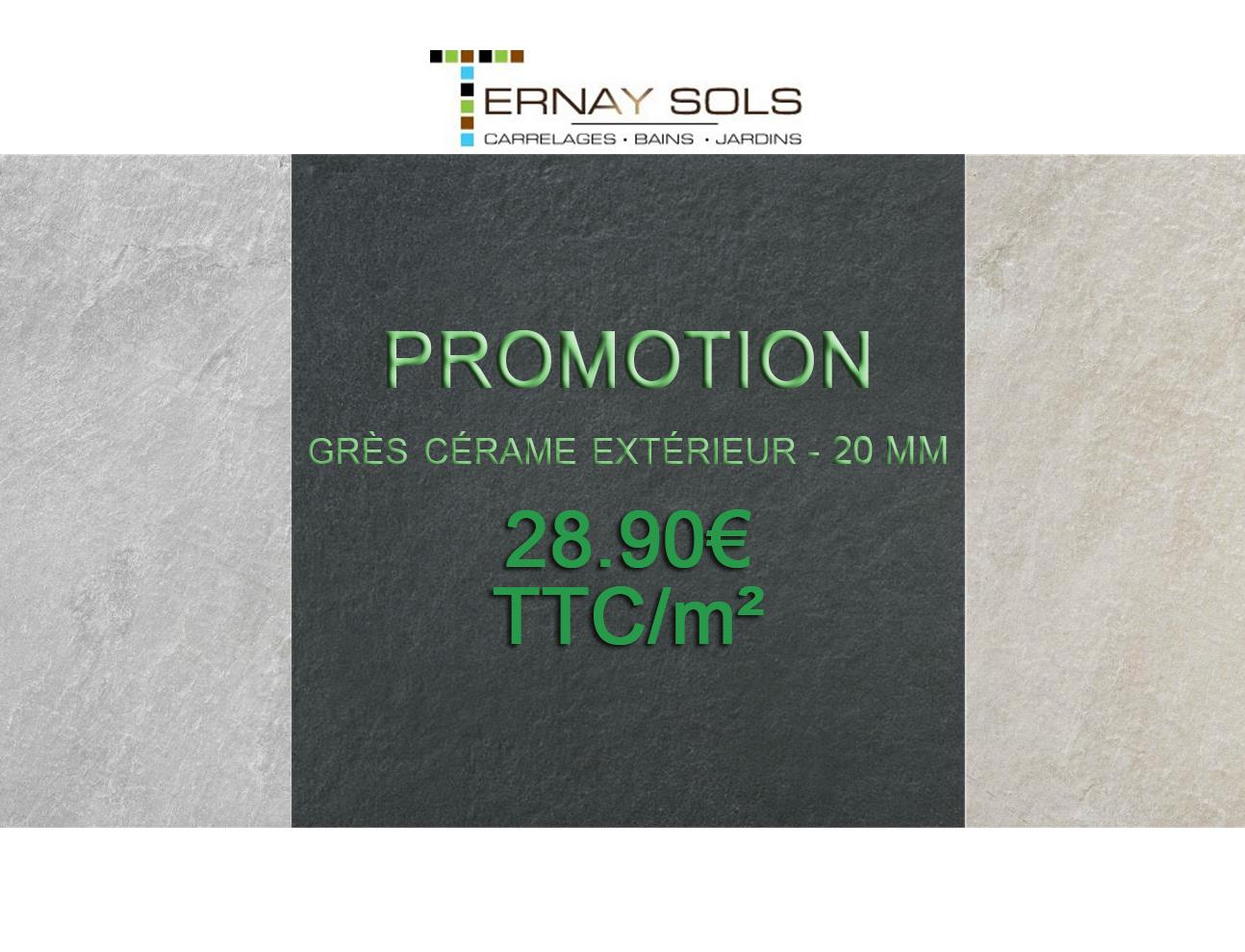 Promotion sur le grès cérame extérieur 20mm : 28,90€